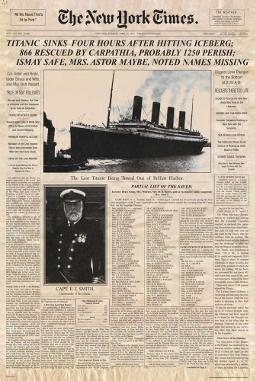 Póster de portada del New York Times con noticia sobre el Titanic
