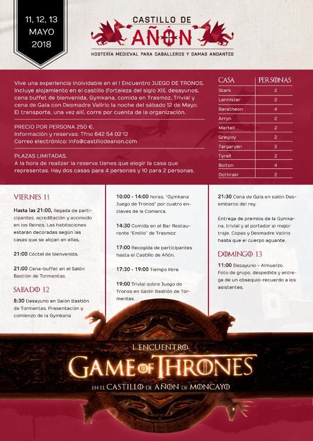 Cartel del Programa Encuentro Juego de Tronos en el Castillo de Añón